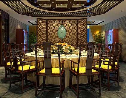 西宁某客户现代中式餐厅设计效果图
