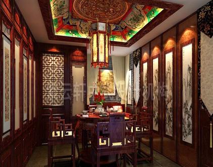 中式会所装修效果图之茶室