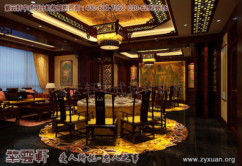 天津私房餐厅装修图,餐厅包房中式装修效果图