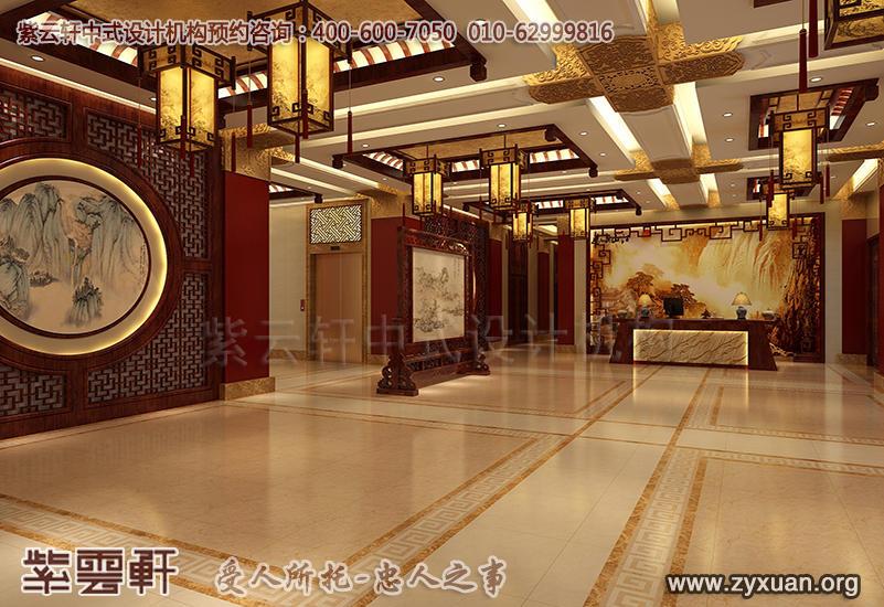天津私房菜餐饮酒楼,大堂古典中式装修效果图
