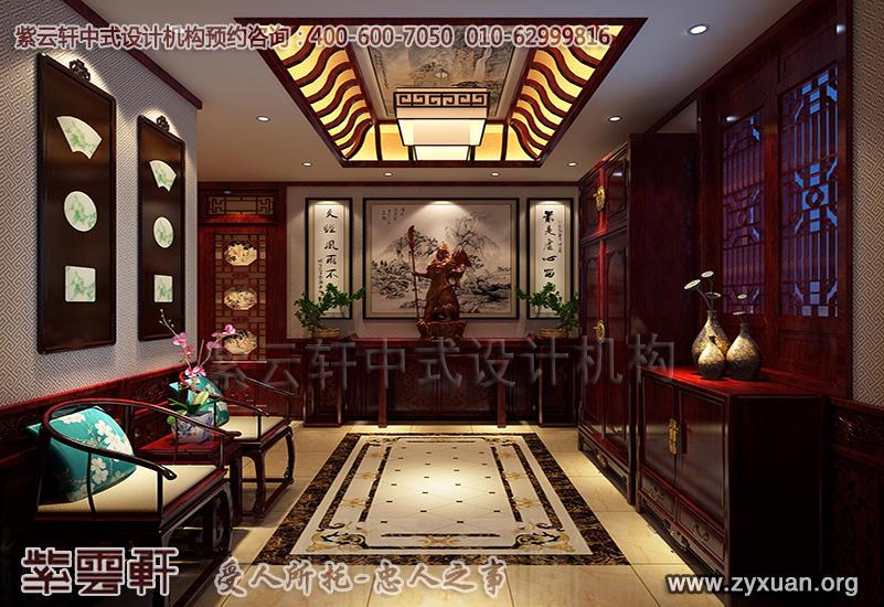 别墅门厅中式装修效果图-青岛豪宅古典中式风格装修