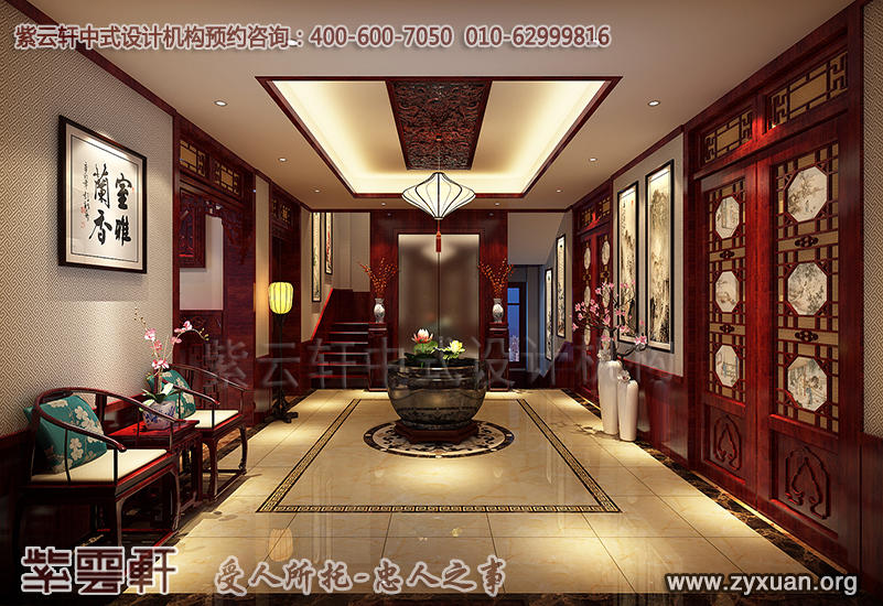别墅过厅中式装修效果图-青岛豪宅古典中式风格装修