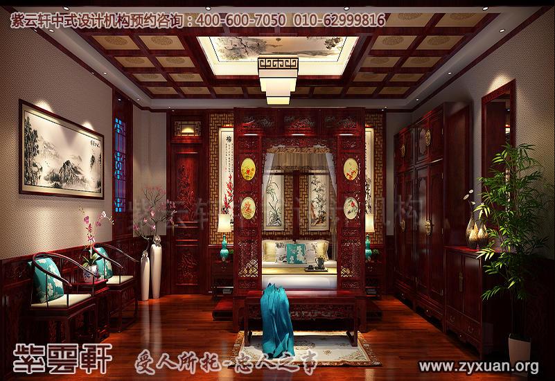 青岛别墅古典中式装修效果图,复古风格主卧中式装修图片