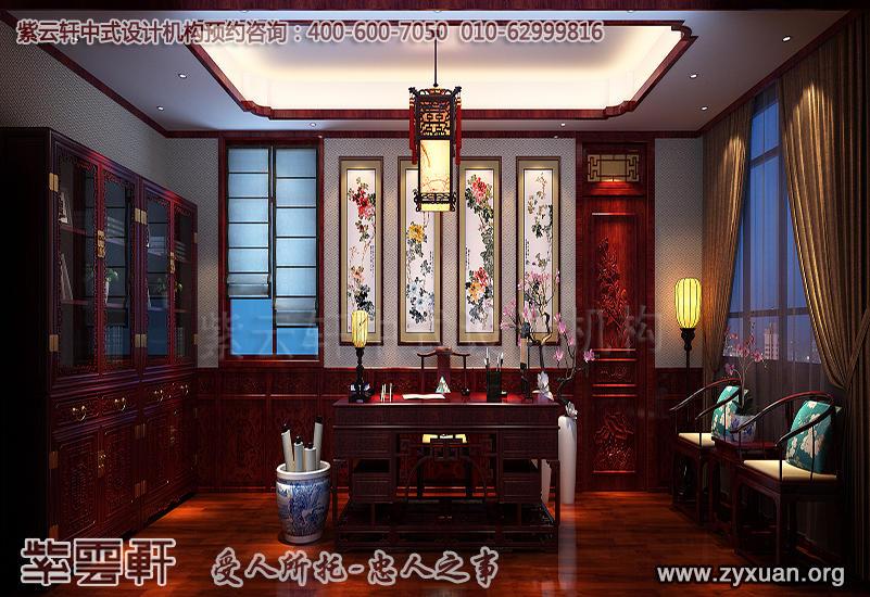 青岛别墅古典中式装修图片,别墅书房古典装修风格设计效果图