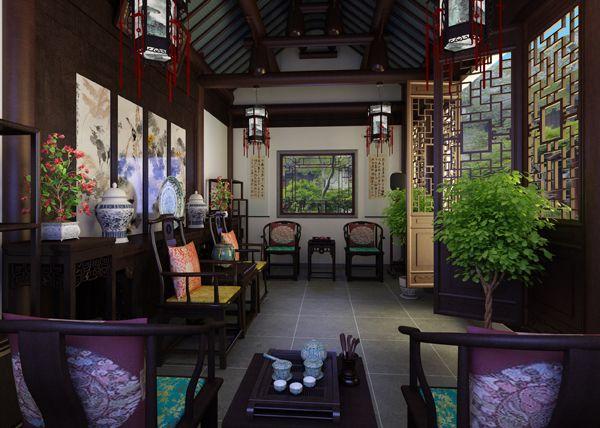 别墅中式装修之客厅装修效果图