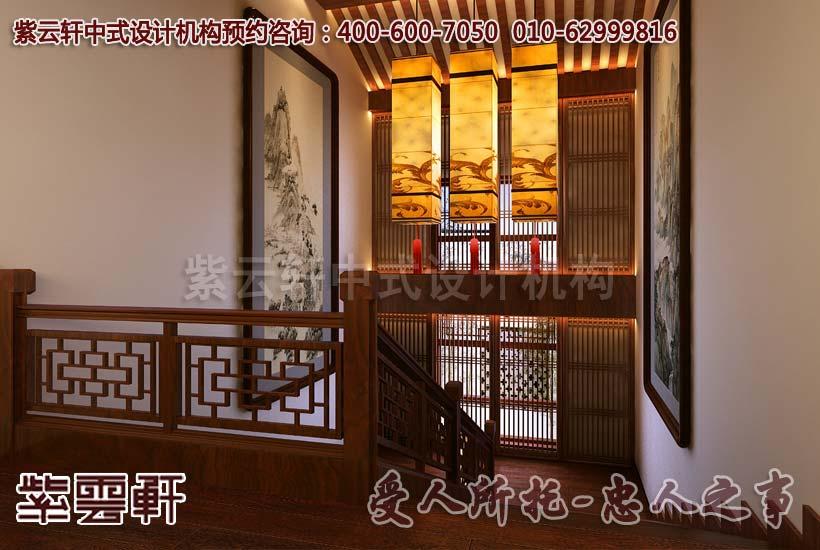 安逸迷人的中式别墅楼梯间装修效果图