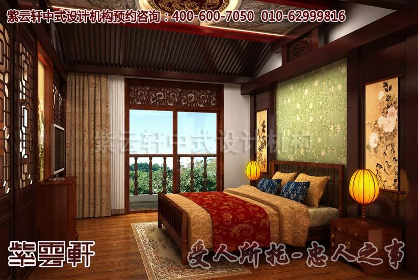 典雅传统的别墅中式卧室设计效果图图片