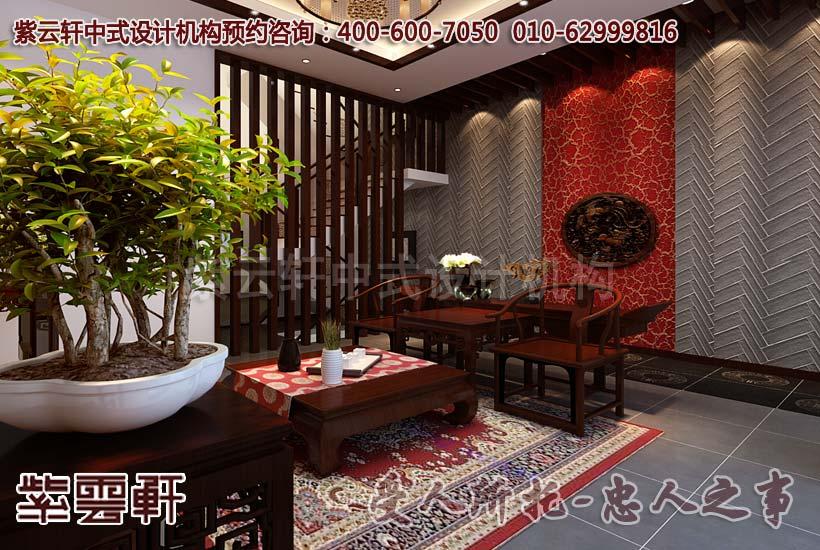 清新的别墅中式设计效果图—客厅_紫云轩中式设计图库