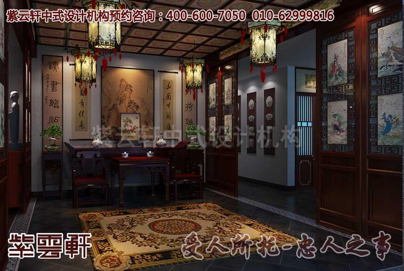 大连某古典中式酒店设计之中堂效果图图片
