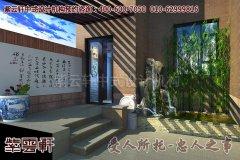 南京某简约中式别墅设计风格效果图之庭院