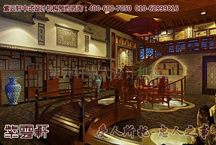 茶楼中式装修效果图之大厅
