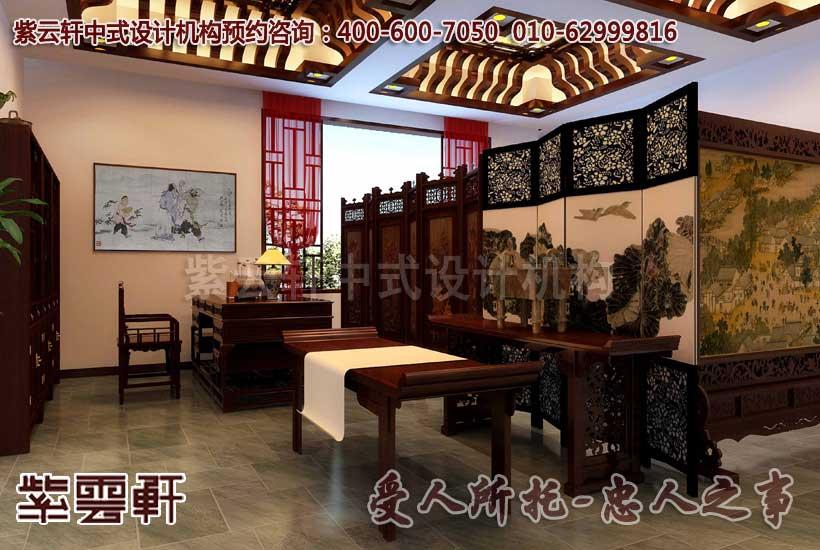 东莞某客户红木家展厅中式装修效果图之书房