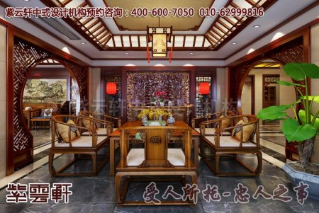 现代别墅中式装修效果图之茶室