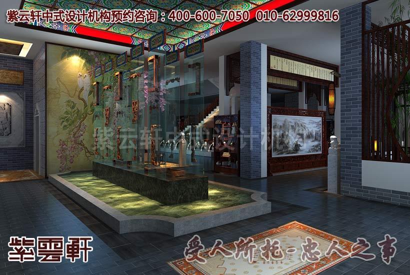 大城紅木家具中式展廳過廳裝修效果圖_紫云軒中式設計