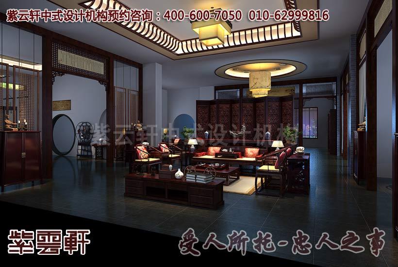 大城紅木家具中式展廳過廳裝修效果圖         大城紅木家具