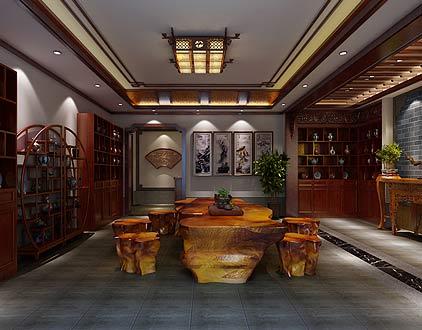 扬州唐郡别墅中式装修图片之会客室装修设计