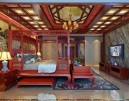 扬州唐郡别墅中式装修图片之卧室装修设计(2P)