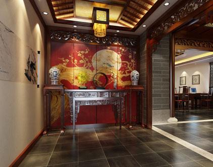 杭州国学会馆中式装修效果图之玄关设计