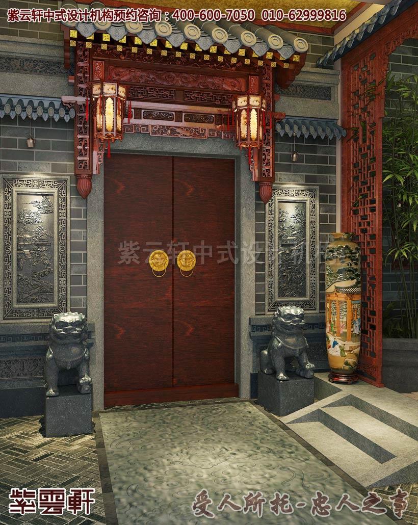 兴化某私人会所古典中式装修效果图之玄关与花园