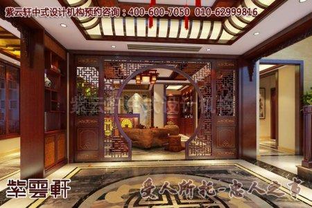 某别墅中式装修入户大厅及过道古典设计效果图