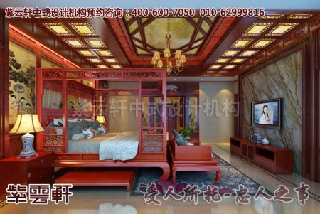 苏州某客户别墅中式装修卧室设计效果图