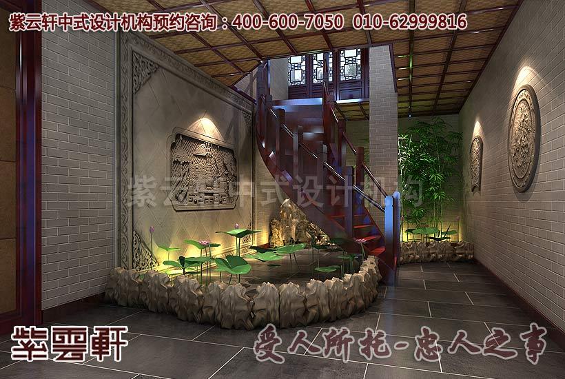 阳台茶室装修效果图_古典别墅中式设计之北京湾楼梯设计一角_紫云轩中式设计图库