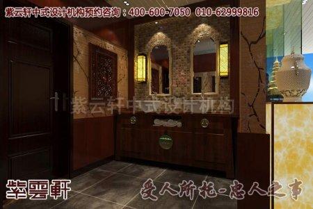 某样板房中式装修 洗手间设计效果图