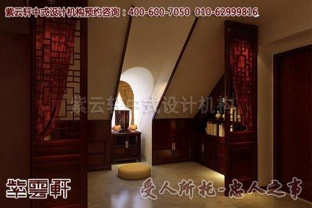 别墅中式装修之顶层佛堂及休闲室效果图