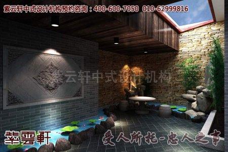 私家庭院中式装修之前厅及花园效果图赏析