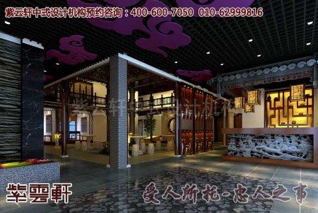 酒店中式装修之大厅及中门效果图