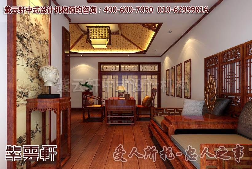 复式别墅中式装修之卧室及茶室效果图