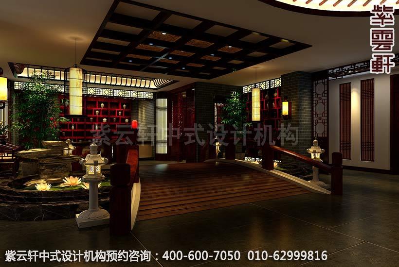 现代中式风格茶楼装修-小桥流水