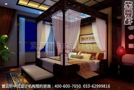 东坝四合院中式装修主卧室效果图 2P