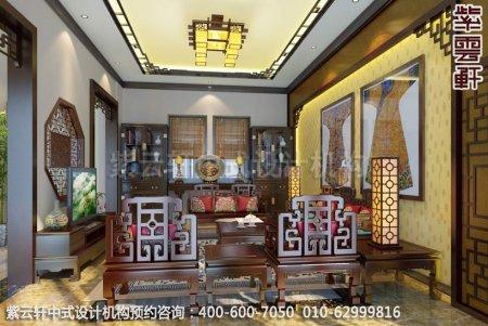 浙江金华别墅古典中式装修客厅效果图