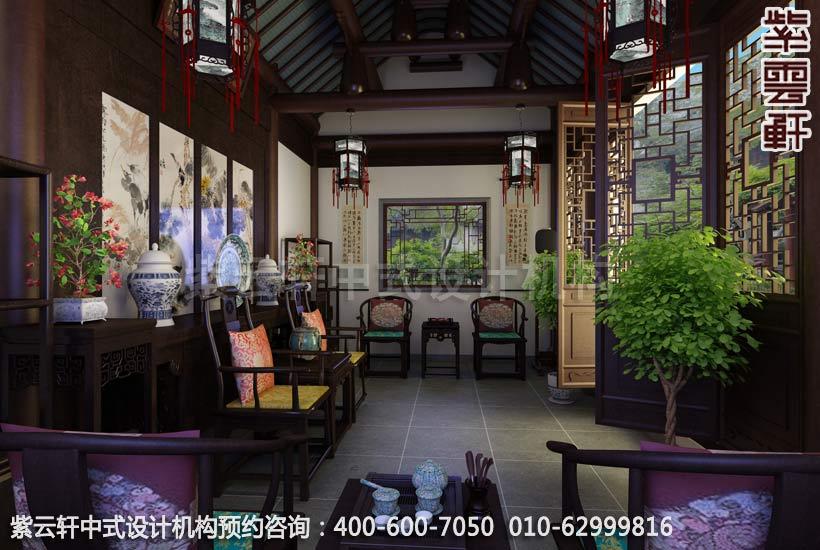苏州西山别墅中式装修茶室效果图欣赏_紫云轩中式设计