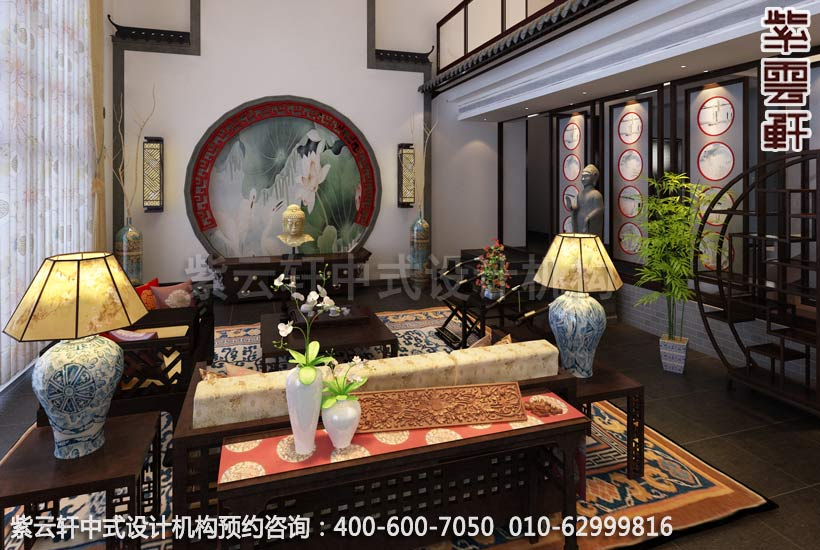 苏州西山别墅中式装修餐厅客厅设计效果图