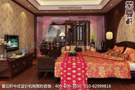 苏州西山别墅中式装修卧室设计效果图