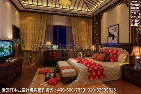 苏州西山别墅中式装修客房卧室设计效果图图片