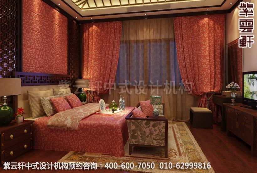 苏州西山别墅中式装修客房卧室设计效果图