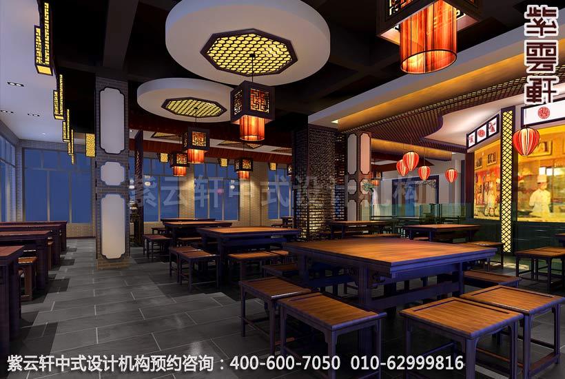 西宁某餐厅现代中式风格大厅装修效果图1
