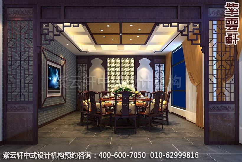 西宁某餐厅现代中式风格包厢装修效果图一图片