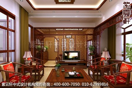张家港张总住宅古典中式装修之客厅效果图