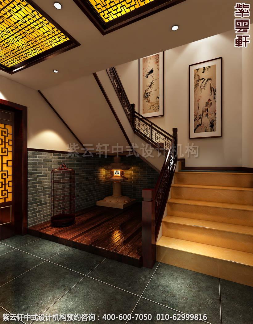 青岛休闲会所中式装修之楼梯间装修效果图