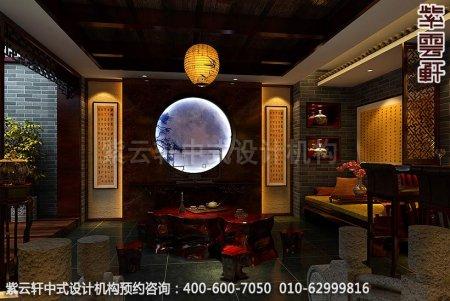 青岛休闲会所中式装修之电视背景墙装修效果图