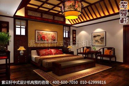 青岛休闲会所中式装修之休息室客房装修效果图