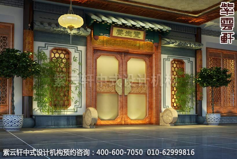 上海中医养生馆中式装修之门头装修效果图
