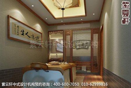 上海中医养生馆中式装修之vip理疗室装修效果图
