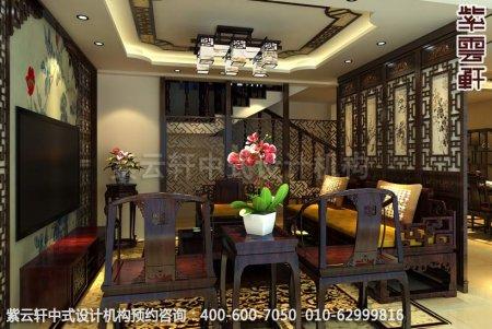 复式楼简约古典装修,盘锦黄女士中式装修之客厅装修效果图