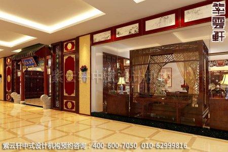 公装设计-红木家具商场展厅中式装修-正门装修效果图