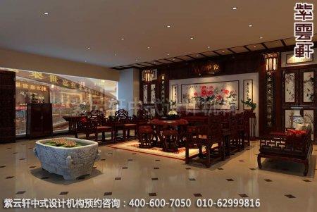 公装设计-红木家具商场展厅中式装修-门厅装修效果图
